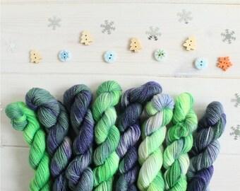Yarn Advent calendar- 24 mini skeins - 20g skeins - hand dyed sparkle sock yarn