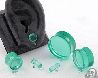 "Double Flare Spearmint Glass Plugs 6g, 4g, 2g, 1g, 0g, 10mm, 7/16"", 1/2"" (12.5mm), 9/16"", 5/8"", 3/4"", 7/8"", 1"""