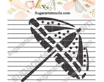 Summer beach umbrella cookie Stencil NB1273