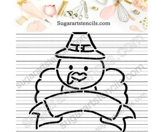 Thanksgiving PYO cookie Stencil turkey Pilgrim Paint your own ST00393