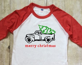 Boys Christmas Shirt-Christmas Baseball Shirt-Red Christmas Truck Shirt-Red Raglan Sleeve Christmas Shirt-Made in USA-