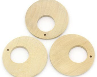5 pendants round & hollow wooden clear 4cm