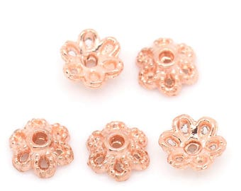 50 bead caps flower pink gold 6 mm