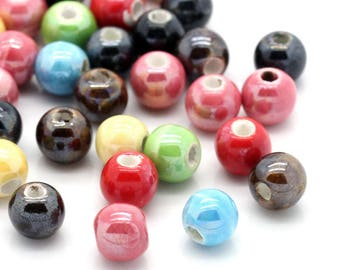 15 different colors ceramic 6mm round beads