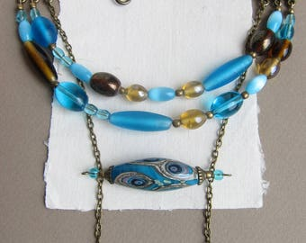 Lampwork necklace, Blue and Yellow, Handmade glass bead, Bronze jewelry, Boho style, Blue glassbead