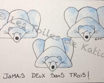 Threes, bears, postcard size 10 X 15 watercolor.