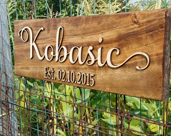 Family Name Sign, Wood 3D Sign - Custom Last Name Sign - Personalized Name Sign - 3D Wood Family Name Sign - Est - Personalized Wedding Sign