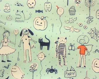 Cotton and Steel Fabric, Sarah Melody, Little Monsters, Halloween, Cotton, Light Blue, Made in Japan, Cute Monsters, Half Metre