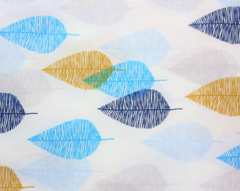 Cloud 9 Fabrics / Organic Cotton Fabric / White Blue Mustard / Sketched Leaves / Women Blouse Dress Quilting Wall Decoration / Half Metre