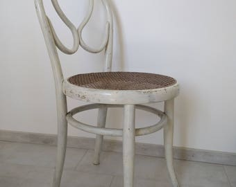Bentwood Chair type THONET N20 seat caning painted white