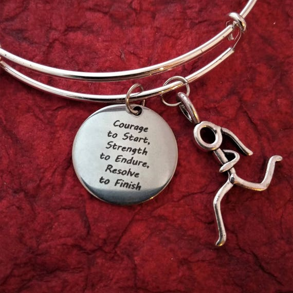 Gifts for Runners, Fitness Charm Wire Bangle Bracelet, Courage to Start Word Charm, Triathlon Jewelry, Inspirational Coach Trainer Bracelet