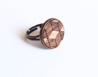"""Ring """"Ema"""" mahogany wood - 3D - large format patterns"""