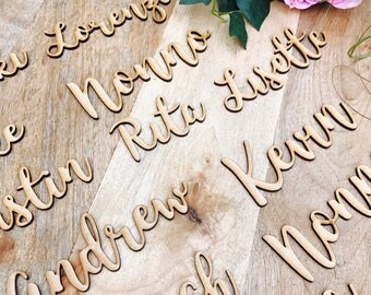 50 x Custom timber place cards, Personalised wooden name places for Wedding, Laser cut timber guest names bonbonniere Plain timber name SPMG
