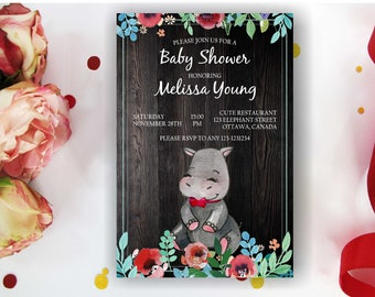 Watercolor Hippo Baby Shower Invitation; Safari baby Shower invites; Jungle Baby Shower;Hippopotamus Invitation; digital printable
