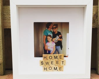 Scrabble home sweet home box photo frame - personalised with scrabble tiles