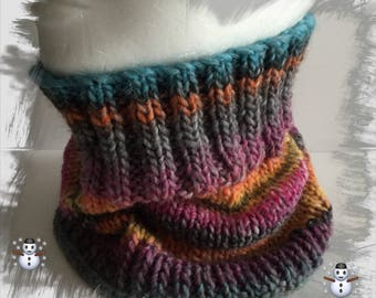 Snood, scarf, cowl, tube, child's neck (5/8 years) in multicolor pink/yellow/orange/green/blue/gray winter wool