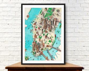 New york map, Manhattan map, vintage map, City of New York, Travel gift, office decor, Map art, Map print,Map wall art,Map artwork,Map decor
