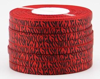 GROSGRAIN Ribbon red and black sold coupon 1.55 meter pattern Zebra 10 mm