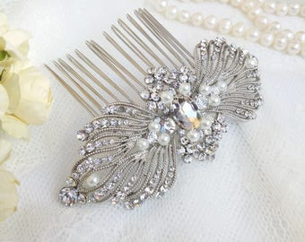 Big crystal hair comb with faux pearls,  Victorian silver hair comb,  Vintage inspired pearl wedding hair comb, shiny pearl hair comb 23