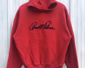 Vtg rare 90s Arnold Palmer hoodies sweatshirt spellout big logo embroidery M size