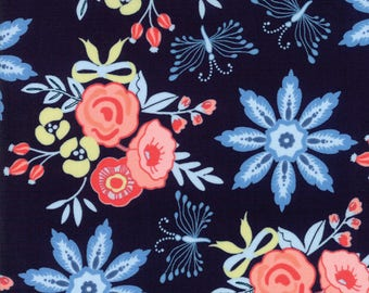 Moda - Bloomsbury by Franny and Jane - Navy - 47510 12 - 100% cotton fabric - Fabric by the yard(s)