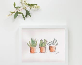 "Original illustration ""cactus Trio"" watercolor"