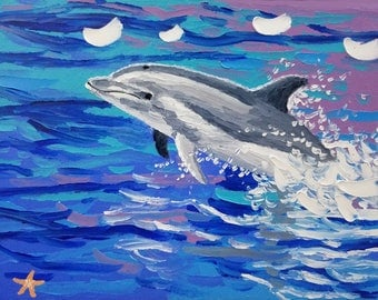 Dolphin painting, marine life art, ocean oil painting seascape, by Ryan Kimba