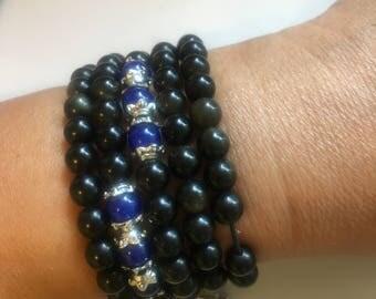 Hand Made Obsidian Stone beaded Necklace/Bracelet(Buddhist Style)