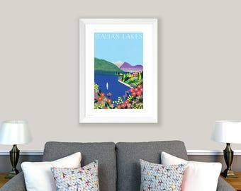 POSTER Italian Lakes, Italy. Print of original collage. Lake Garda, Lake Como, Lake Maggiore, romantic Italy picture, blue, red, pink, green