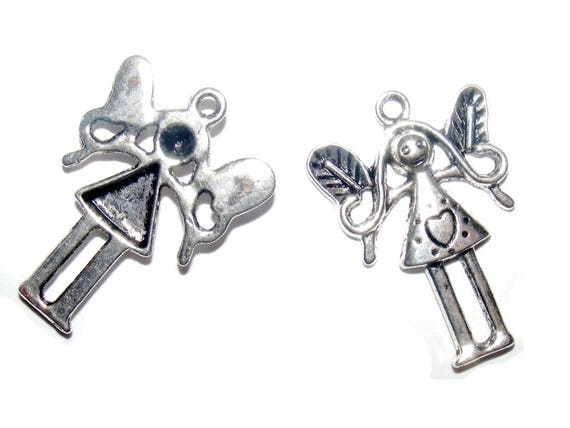 Fairy and 35 mm silver heart charm x 1