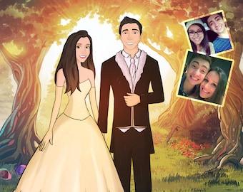 Custom Portrait from your photos, Couple Portrait, Cartoon portrait with Fairytale background, Fairy forest, Family portrait print
