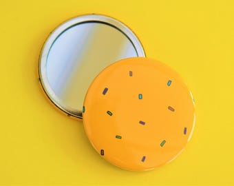 Yellow confetti pocket mirror | Sprinkle pocket mirror | Handmade yellow pocket mirror | 58mm