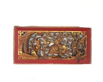 Antique Wood Carved Panel for Wall Decor, special gift for father