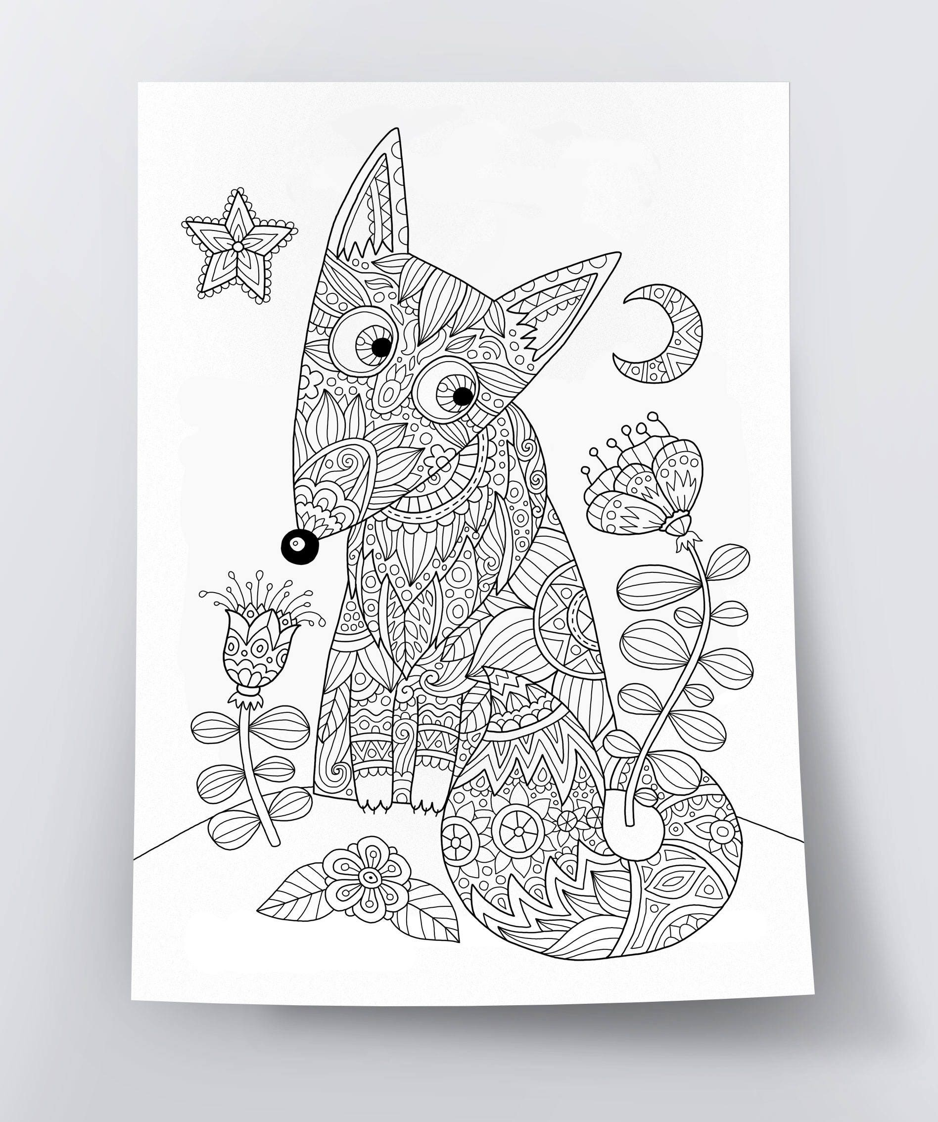 Adult Coloring Page Foxy Fox Doodle Art DIY