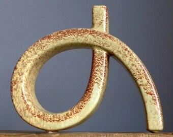 Vintage 70's BERTONCELLO Rigon Screziato Havana Sculptural Vase Italian Fat Lava