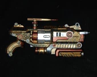 Large Steampunk Cosplay Costume Prop Toy Gun Nerf Beach Blaster Post Apocalypse Weapon Watch Clock Gears Deadly Battle Silver Gold Bronze