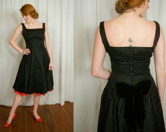 1950s Black Satin Polka Dot Dress - Medium