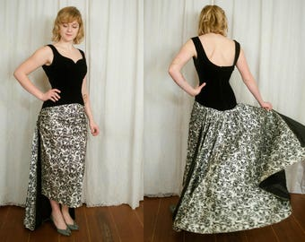 1950s Satin and Velvet Evening Gown with Train - Small