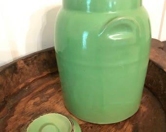 Vintage Large Green Kitchen Crock or Storage Jar with Lid