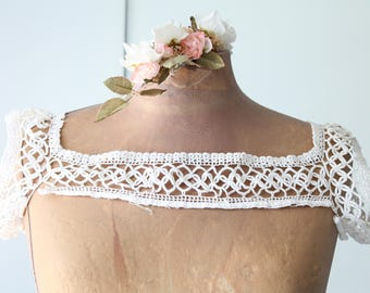 Cover shoulders antique edwardian - collar, shoulder pads - handmade ecru crochet - early 20th century - circa 1930-1940 - ivory color, COL160513