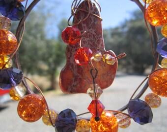 Orange Stone with Orange Crystals Sun Catcher - #5233