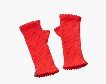 fingerless mittens for women, fancy bright red.