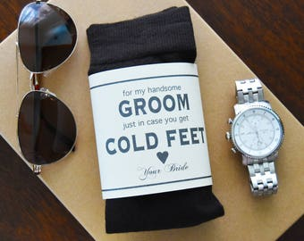 Groom Dress Socks with Personalized Gift Label | Husband to Be | Gift from Bride | Mens Dress Socks | Black Wedding Socks | Cold Feet | Navy