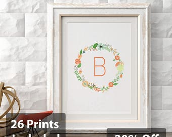 26 Floral Initials A-Z, Single-Letter Monogram, Printable Wall Art Prints and Posters, Digital Prints, Minimal,Typography, Home Decor