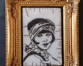 Tableau en céramique Raku Louise Brooks