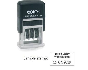 Colop Mini-Dater S160 Dater with Personalized Self Inking Stamp 5x25mm