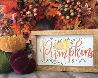 Pumpkins wood sign, 7x11in, Fall Decor