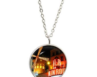 Moulin Rouge Pendant and Silver Plated Necklace