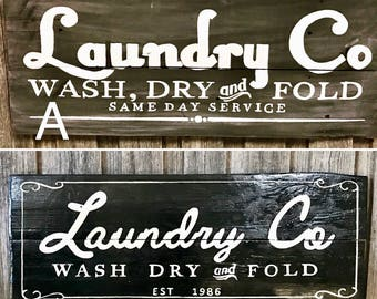 LAUNDRY CO recycled timber sign