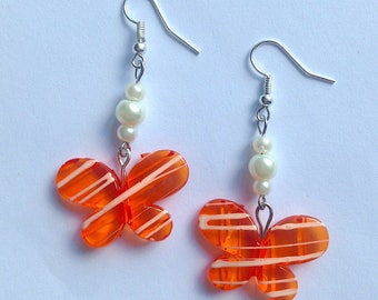 Earrings with Orange Butterflies